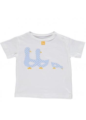 Conjunto formado por bañador de cuadritos azul y blanco y camiseta con detalle de patitos de la marca Al agua patos
