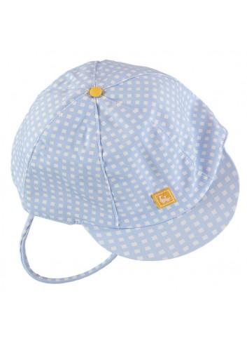 Gorrita con visera para bebe de cuadritos azul y blanca con detalle amarillo de la marca Al agua Patos