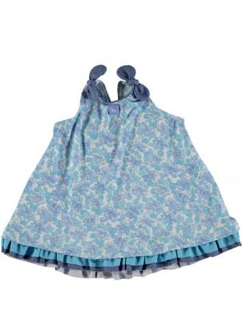 Conjunto compuesto por culetin y camiseta de estampado de flores turquesas de la marca Al agua patos