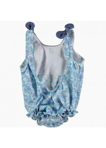 Bañador de bebe con flores turquesas de la marca Al agua patos