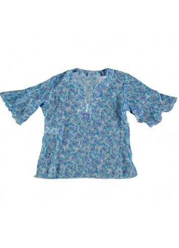 Conjunto formado por bañador de niña con flores turquesas y camisola con el mismo estampado de la marca Al agua patos