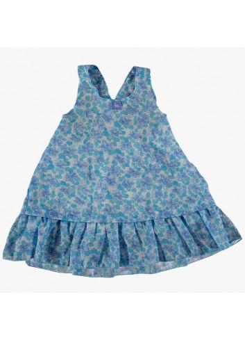 Vestido con volantitos con estampado de flores turquesas de la marca Al agua patos