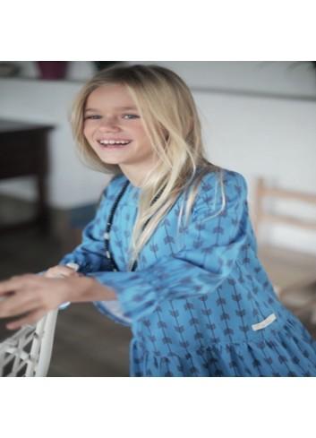 Vestido azul con estampado flechas de la marca Pilar Batanero